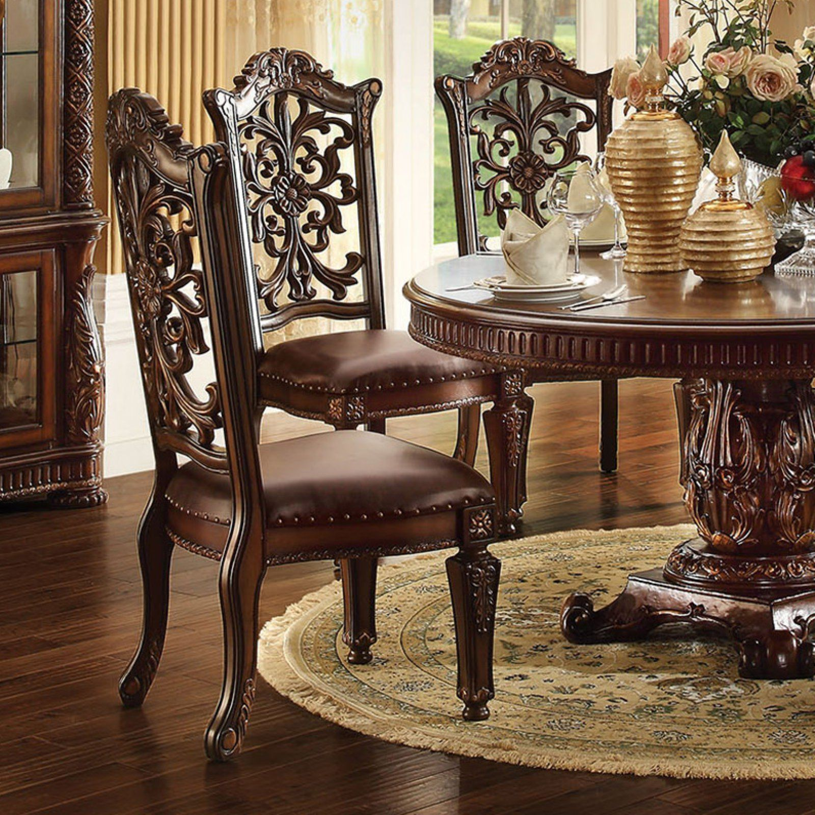 Acme Furniture Vendome Ornate Dining Side Chair Set Of 2 In 2020 Side Chairs Dining Round Pedestal Dining Table Tuscan Decorating