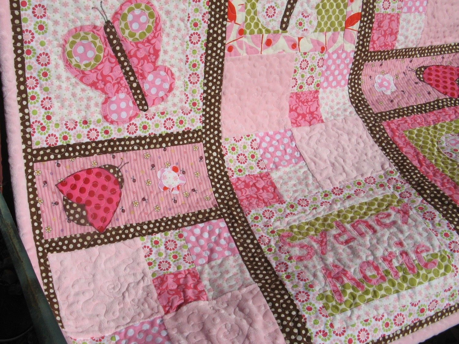 Butterfly Kisses Baby Girl Quilt- a little complicated, but it ... : butterfly baby quilt pattern - Adamdwight.com