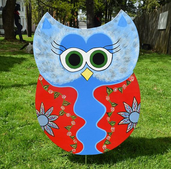 Owl Yard Art, Red And Blue Floral Owl Garden Stake, Owl Yard Stake,
