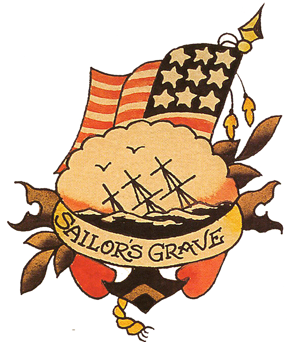 Sailor's Grave (2), Sailor Jerry,Tattoo Flash | Vulture Graffix, Mail Order T Shirt, #Psychobilly #Rockabilly #ink #flash #tattoo #Vintage Tattoo Designs #TShirt #Sailor Jerry #Retro #Clothes