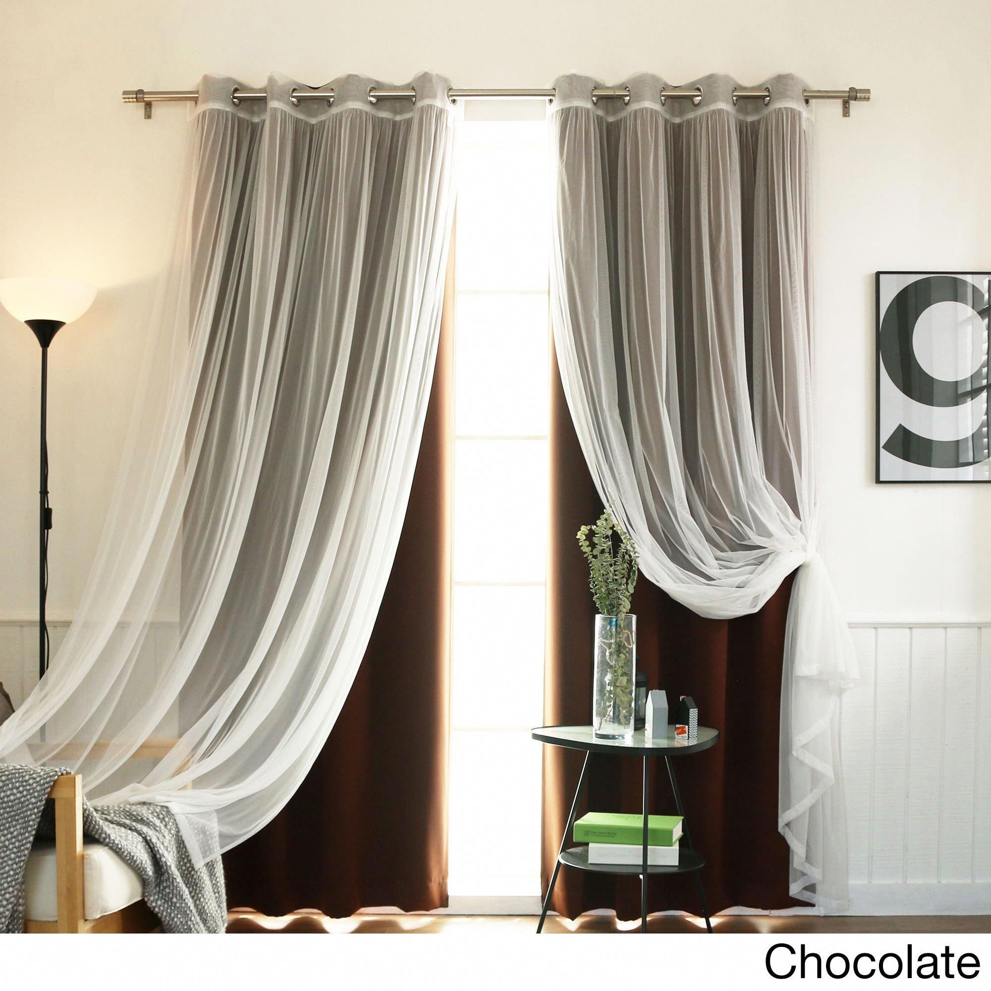 Aurora Home Mix Match Curtains Blackout And Tulle Lace Sheer