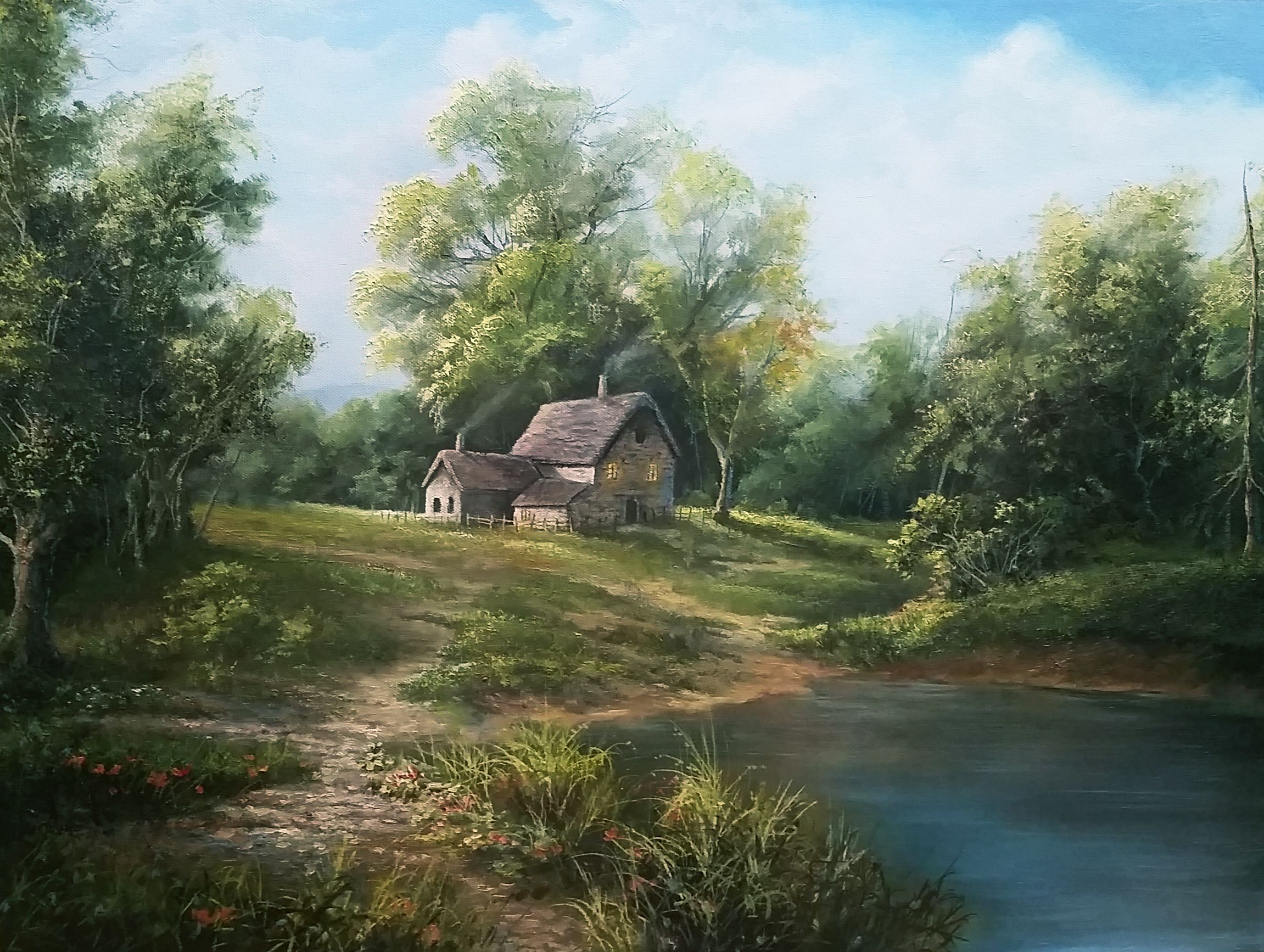 Country House Oil Painting By Kevin Hill Watch Short Oil Painting Lessons On Youtube Landscape Painting Tutorial Kevin Hill Paintings Oil Painting Lessons