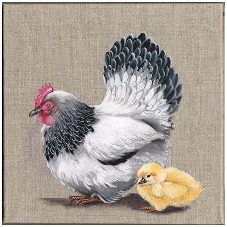 Bien-aimé Image tableau 3D - La poule et son poussin www.crea-lire.com  IB47
