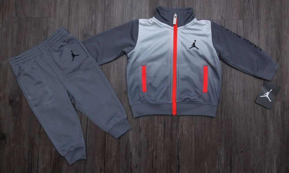 afd46c03efe122 Air Jordan Baby Boy 2 Piece Jogging Set ~ Tracksuit~ Gray   Neon Orange~  Jumpman  Jordan  Everyday