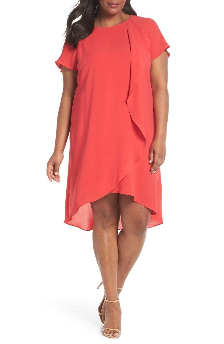 Crepe Ruffle Drape Shift Dress, Main, color, Geranium | Plus Size ...