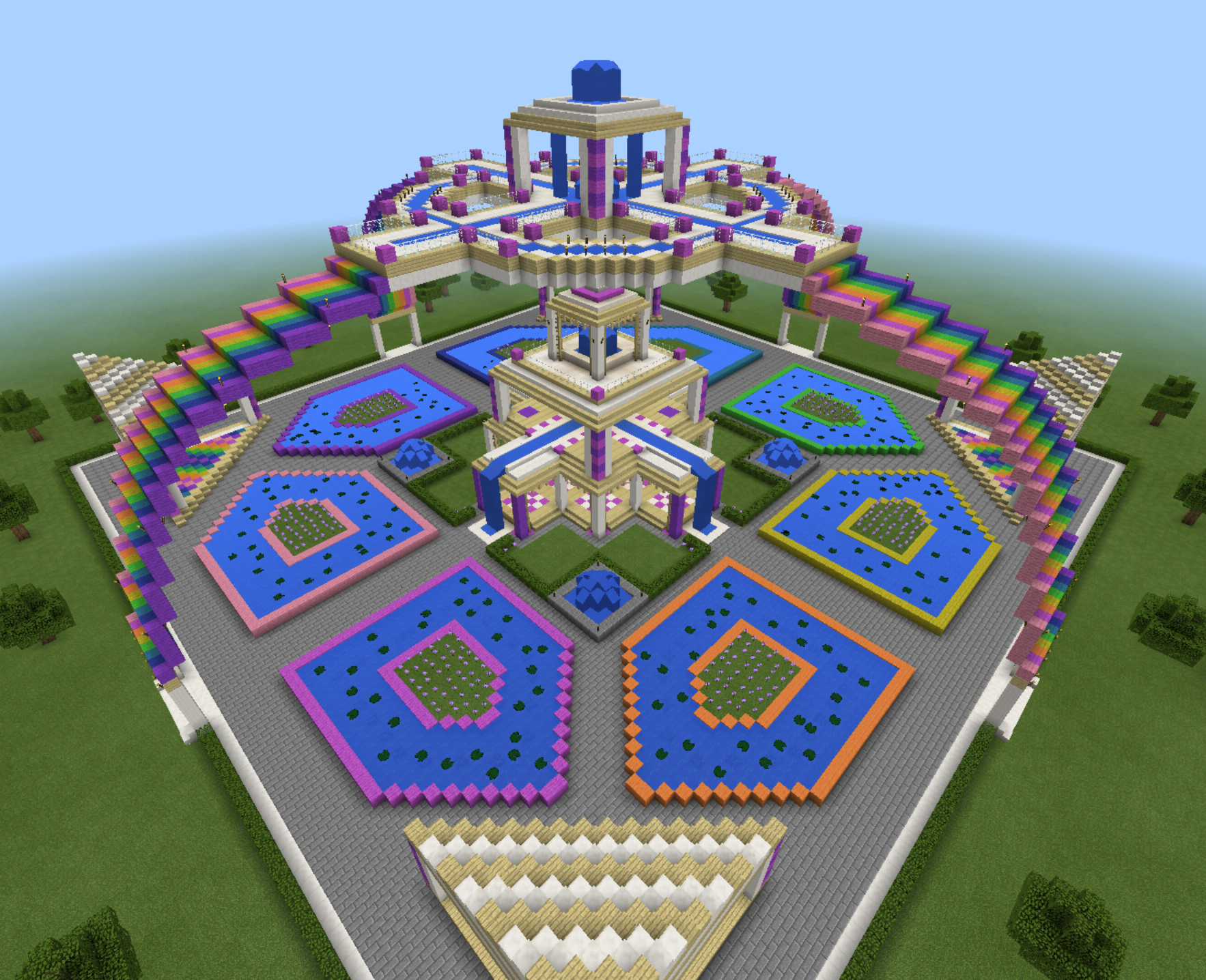 Minecraft Village Garden minecraft sky rainbow waterfall garden fountain temple creation