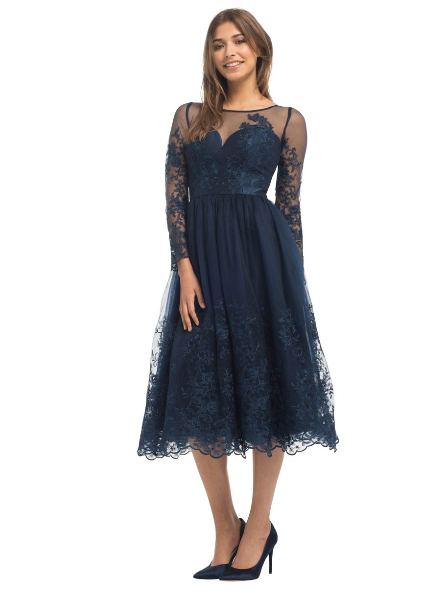 Znalezione obrazy dla zapytania long-sleeve-tea-length-aline-tulle-over-lace-bridesmaid-dress