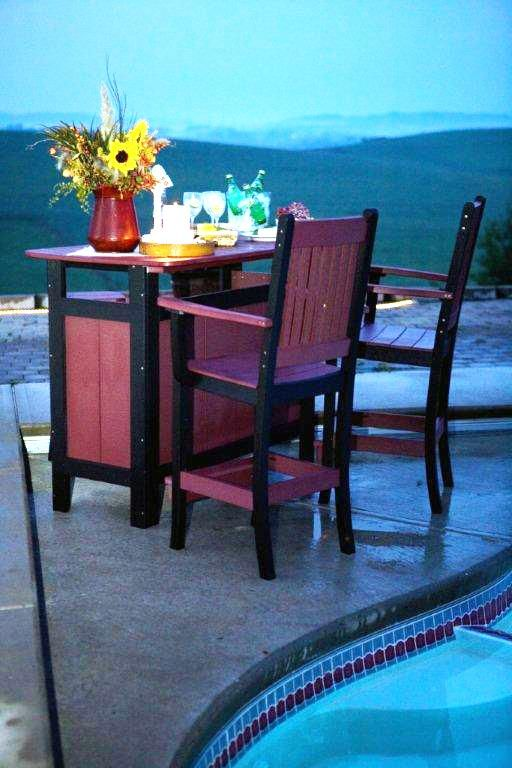 Berlin Gardens Poly Outdoor Bar Set With Mission Bar Chairs