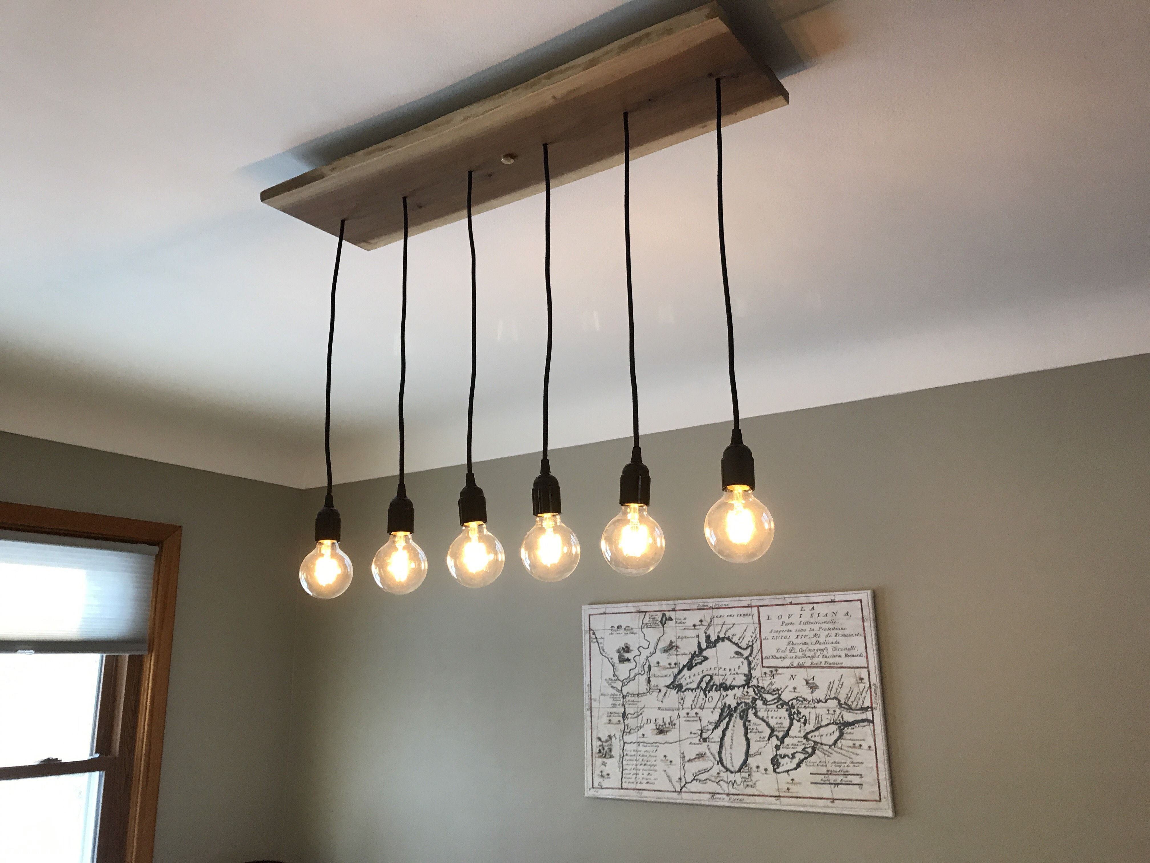 Wood Pendant Light - Dining Chandelier with 6 Pendant Lights ...