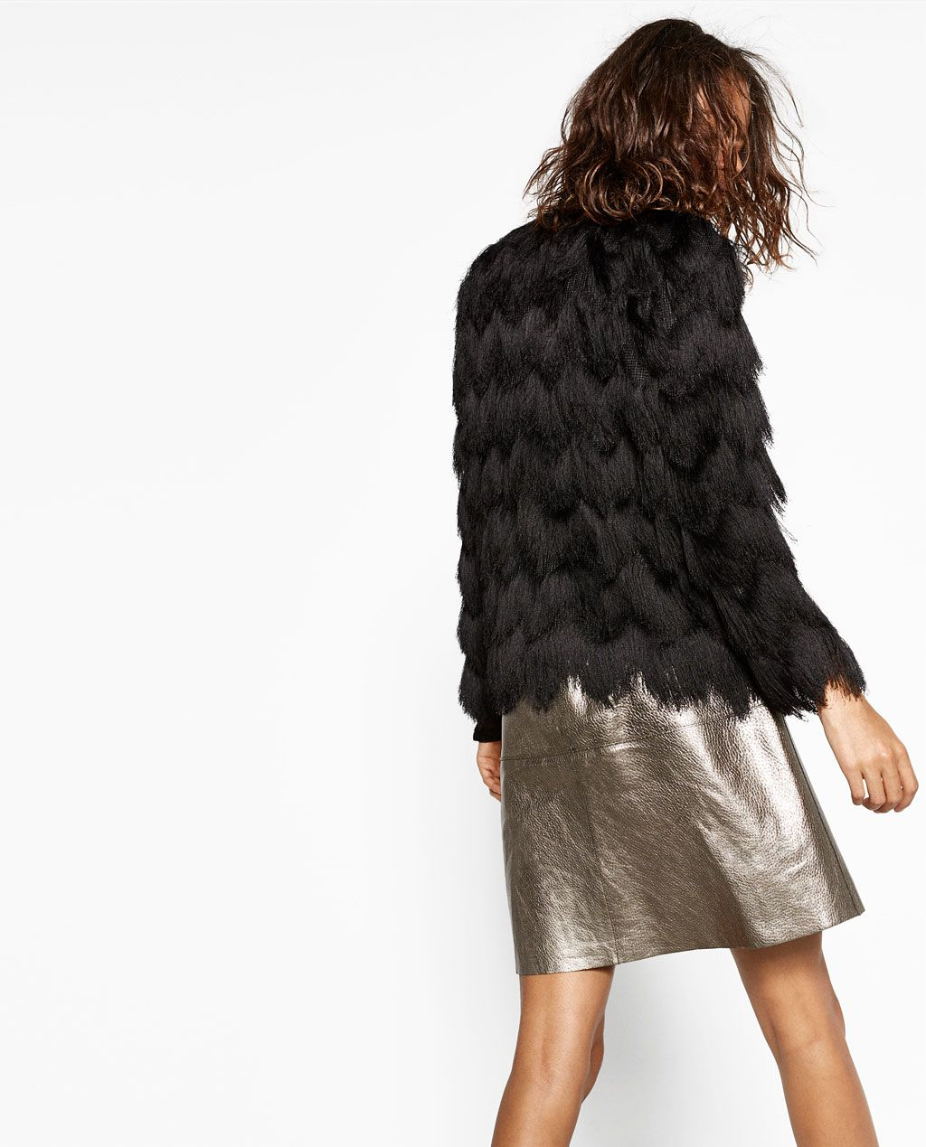 499424dc87ca Zara black fringed jacket and metallic leather skirt | Dinner with ...