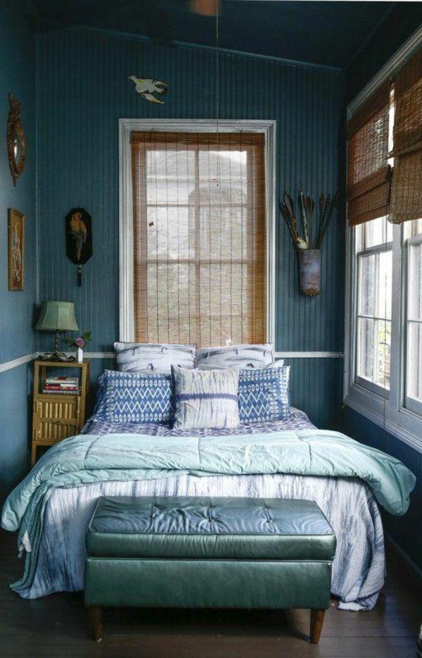 kleines schlafzimmer einrichten grünnuancen schlafzimmerbank, Schlafzimmer ideen