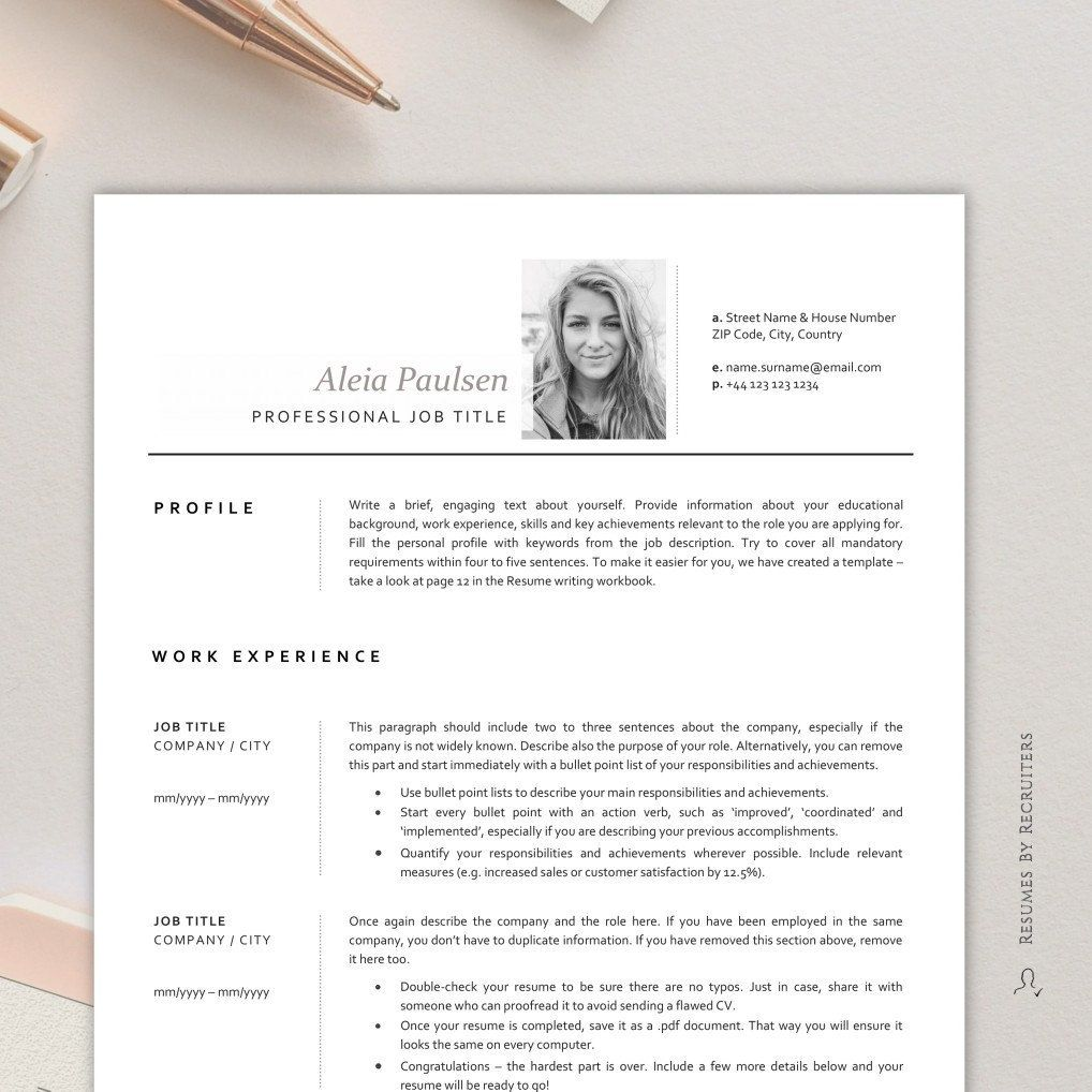Photo Resume Template / Instant Download CV Template for