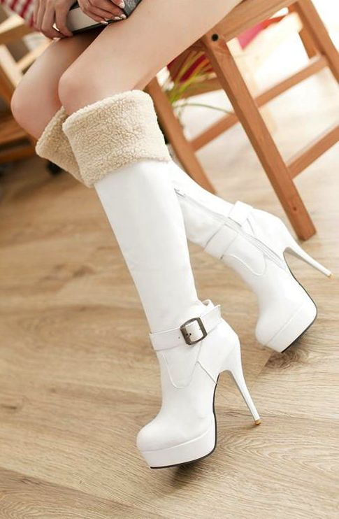Sexy White Over The Knee High Heel Warm Winter Boots