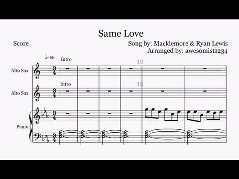 Same Love Macklemore Ryan Lewis Saxophonetrumpetpiano Sheet