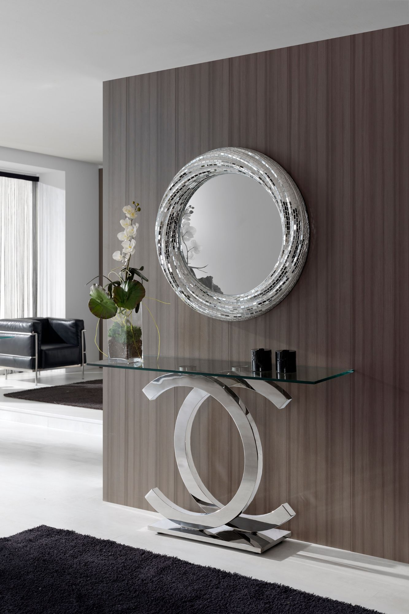 Iconic Chrome And Glass Console With A Stainless Steel Base And 12 Mm Safety Glass Top With