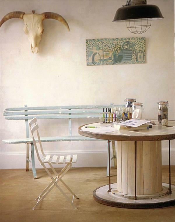 Gut DIY Holz Wohnzimmermöbel Aus Kabeltrommel Wanddeko