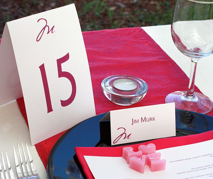Modern monogrammed table number and place card in raspberry ink.  | Invitations by Ajalon | invitationsbyajalon.com