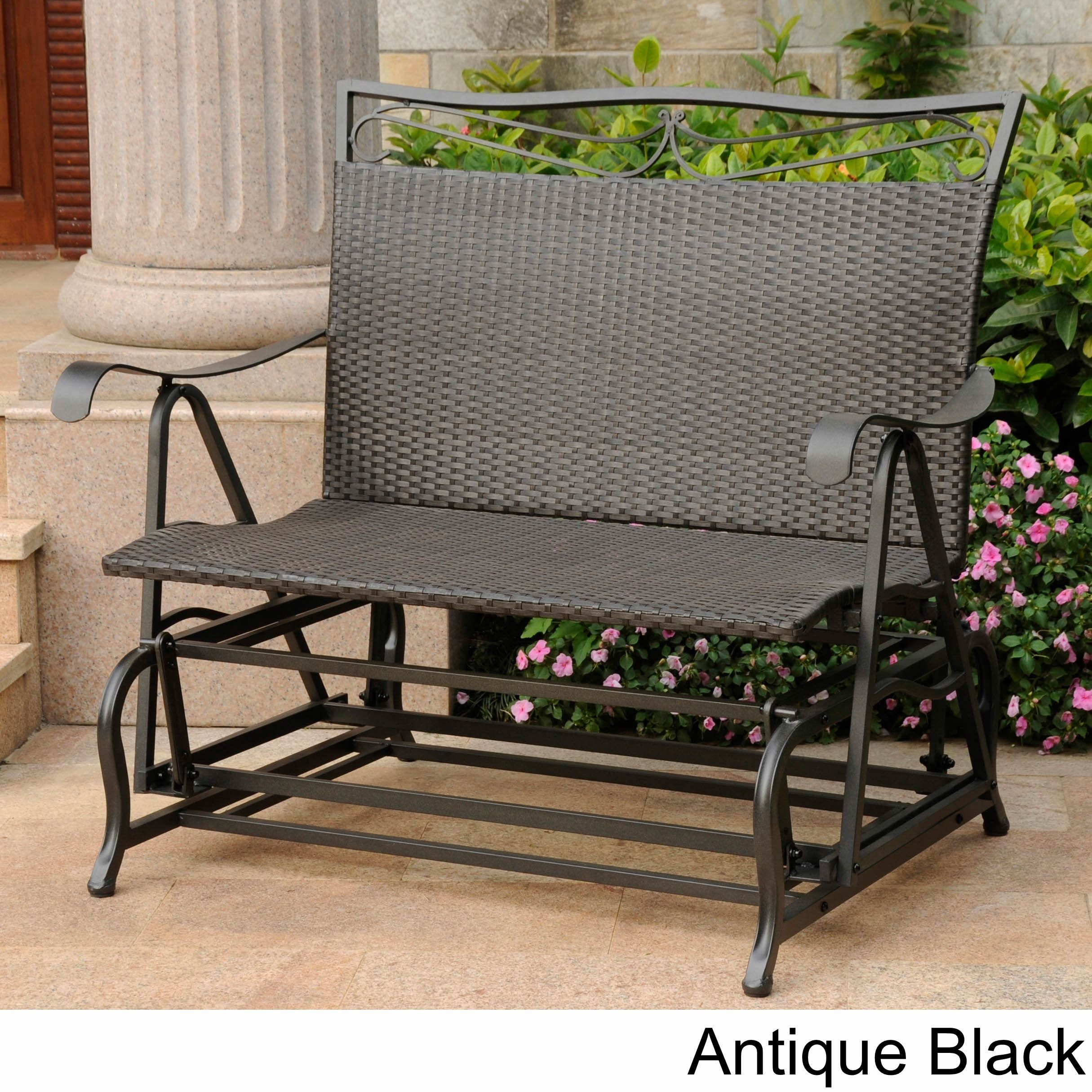 International caravan valencia resin wicker steel frame double glider chair antique black patio furniture