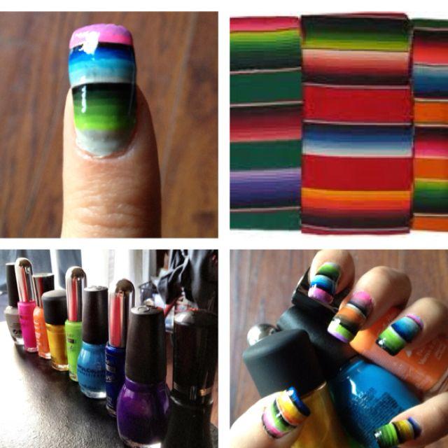 un zarape en tus uñas   nails   Pinterest   Mexicanos, Uñas ...