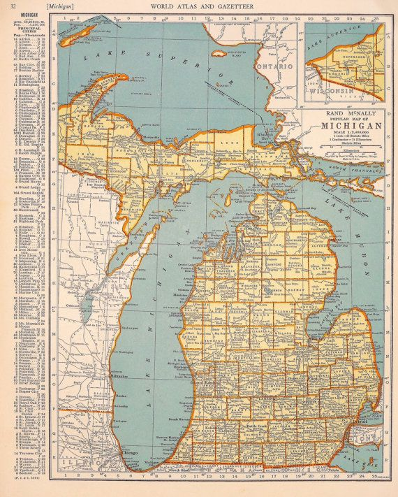 1939 Michigan Vintage Atlas Map by oddlyends on Etsy