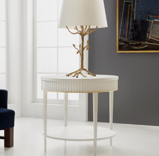 Modern History Round Scalloped End Table In 2020 Modern History