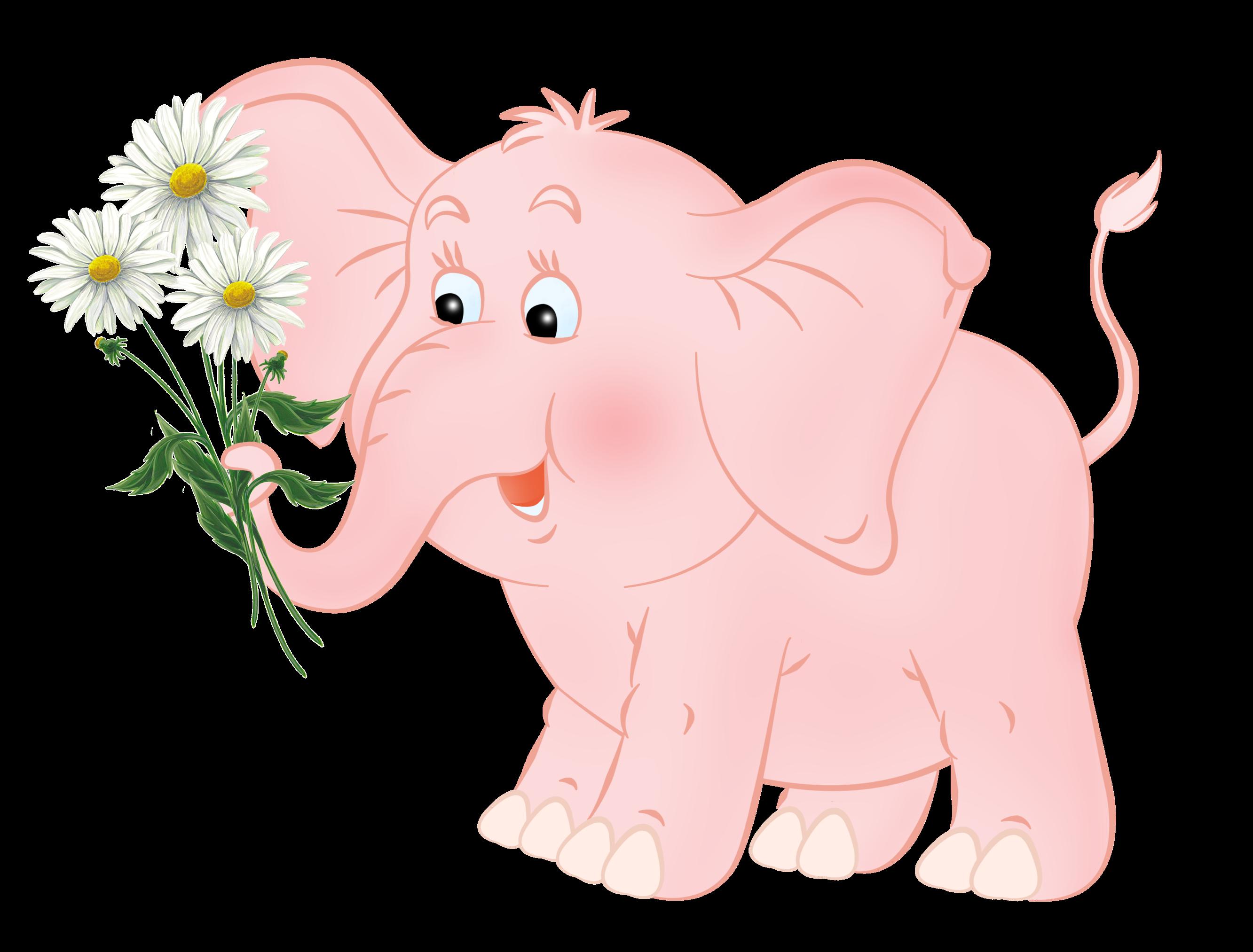 Картинка слона розового