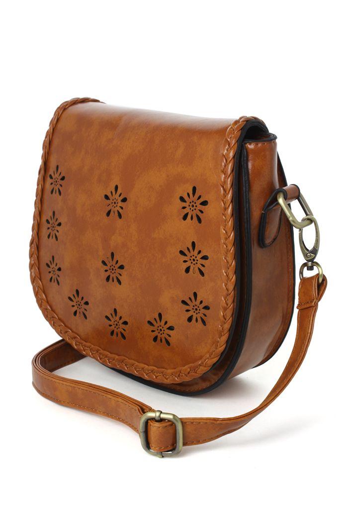 b5a1e46320 Braid Trimmed Brown Cross Body Bag in Brown - Retro