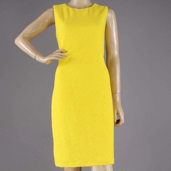 a15aeb4a0d9 New Calvin Klein Yellow Dress Sleeveless Pencil Patterned Crew Neck Women s