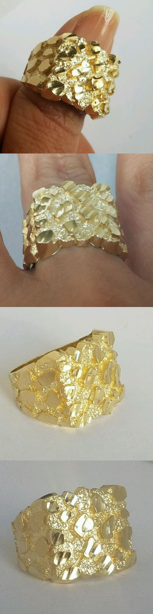 Men Jewelry Big Men S 10k Yellow Gold Nugget Ring Size 9 10 11 12 Buy It Now Only 295 On Ebay Gold Nugget Ring Sweet Jewelry Nugget Bracelet