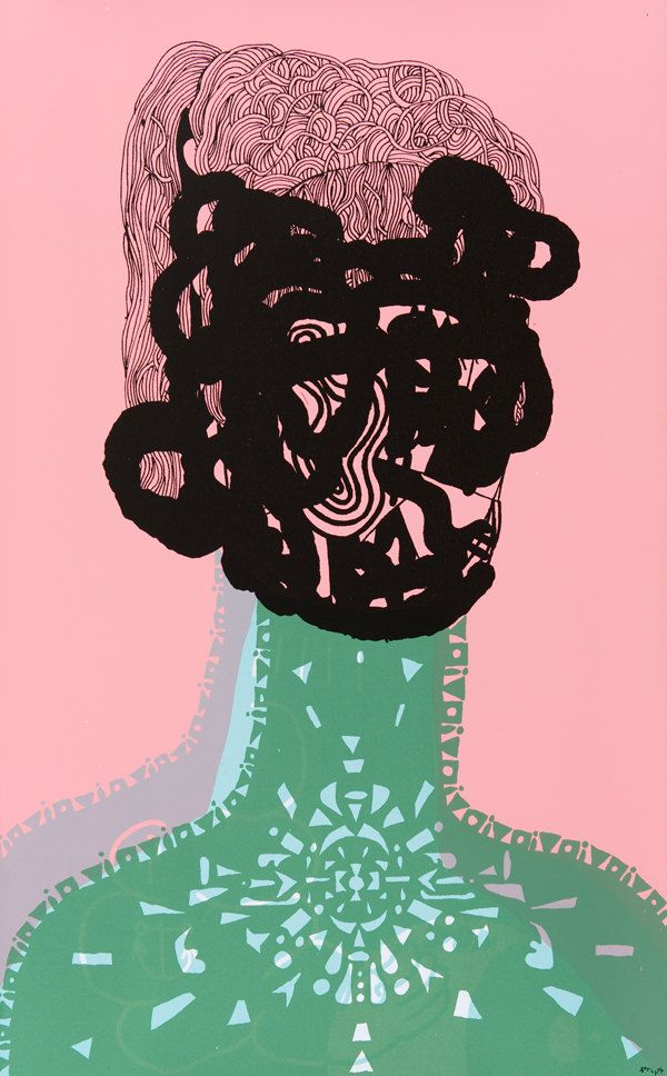 Portrait no. 3  - 4 color screenprint from 2009 series of 5 portraits by Seripop