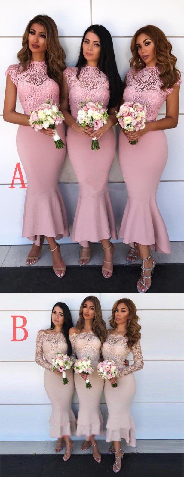 Pink wedding dress short in front long in back  Off Shoulder Long Sleeves Mermaid Long Top Lace Elegant Formal Cheap