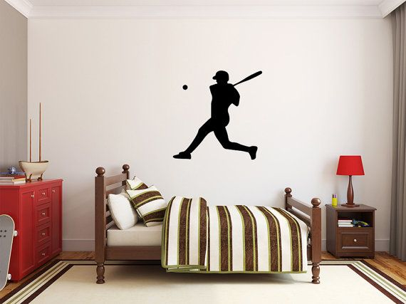 Baseball Player Wall Decal  27 x 27 Baseball by MaxxGraphixx