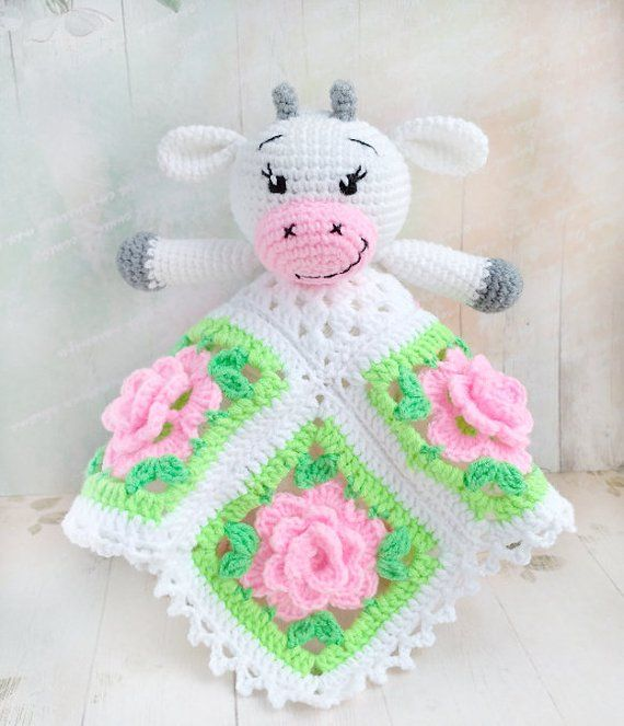 Instant download - !!! This listing is only a PDF PATTERN, not a finished product !!!  ✿✿✿✿✿✿✿✿✿✿✿✿✿  This cute Happy Cow (also known as a security blanket, lovie, or blankey) will be a perfect toy for your little one to snuggle up with. It can become a great gift for newborn baby!  Why babies #securityblankets