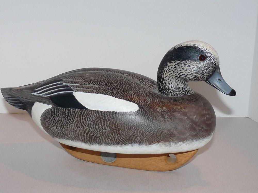 Signed American Black Duck Hen Decoy George W. Csefai (1937-73) Glass Eyes