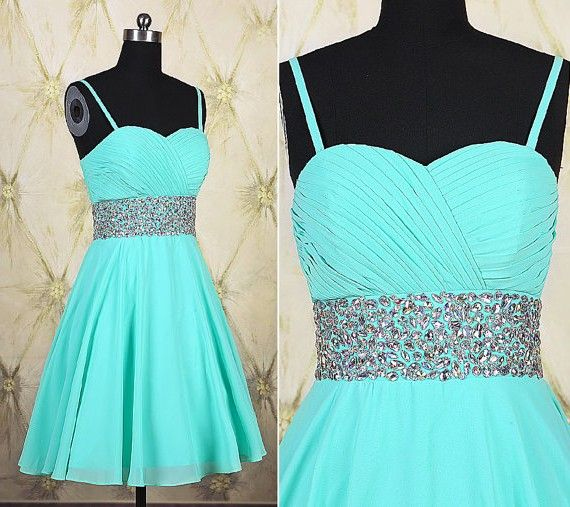 ebc02440ece A Line Sweetheart Short Mint Green Chiffon Beaded Prom Dress With Straps