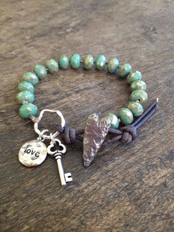 Rustic Silver Knotted Bracelet Love Key to my por TwoSilverSisters