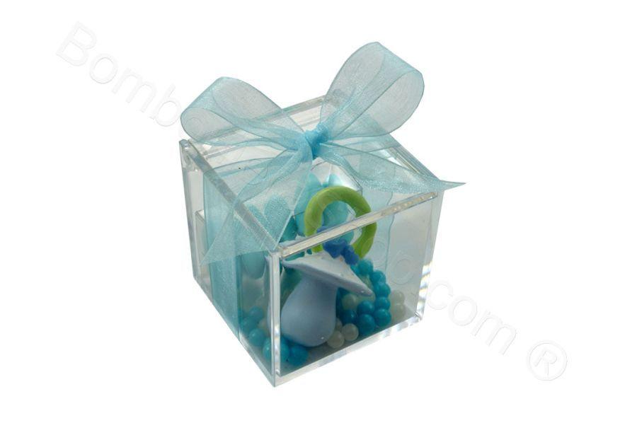 Scatola plexiglass con Ciuccio in resina celeste confetti ...