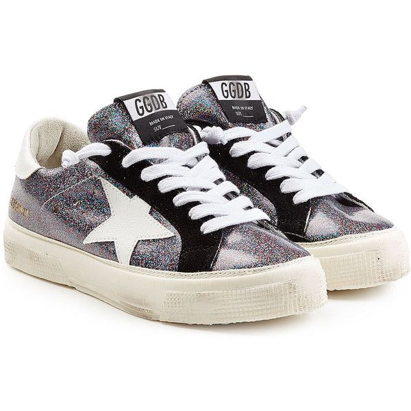 Golden Goose Glitter May Sneakers ($275) ❤ liked on Polyvore featuring shoes, sneakers, multicolor, black white shoes, black white sneakers, lace up sneakers, colorful sneakers and black glitter shoes
