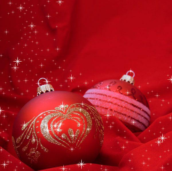 Julekort uden støtte. Motiv: Pyntekugler, julepynt ...