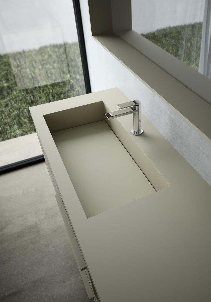 Lavabo Vasque En Fenix Ntm Coloris Beige Mastic Collection Sense