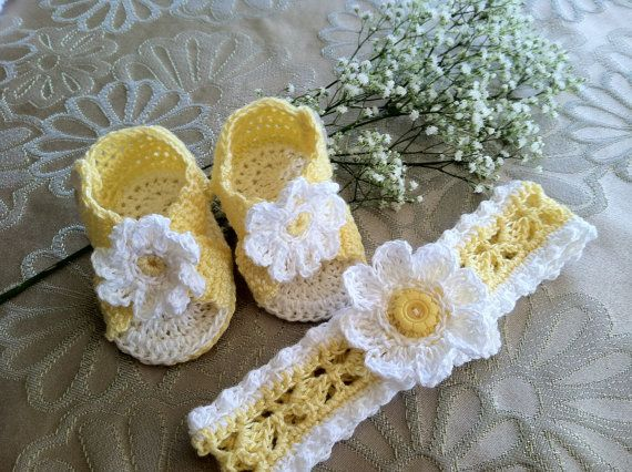 Crochet Pattern for Baby Booties and Headband, Daisy Booties Sandals ...