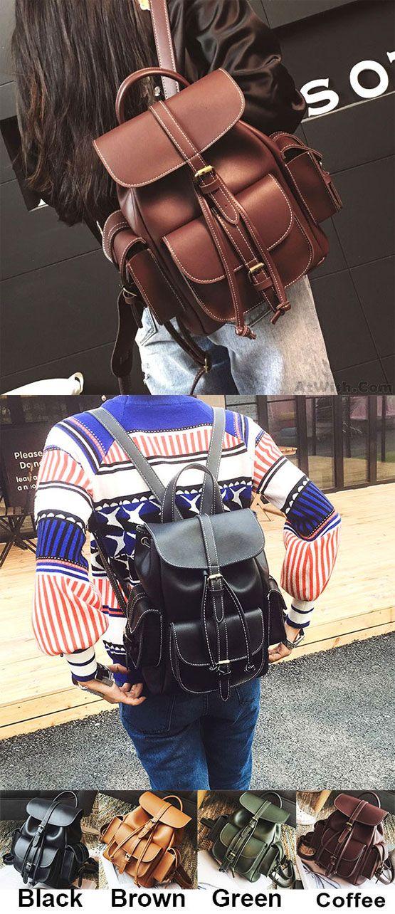 6c963d027c3 Fashion Black Three Pockets PU Smooth Large Women College Backpacks for big  sale!  Pocket  Pu  black  fashion  Backpack  Bag  large