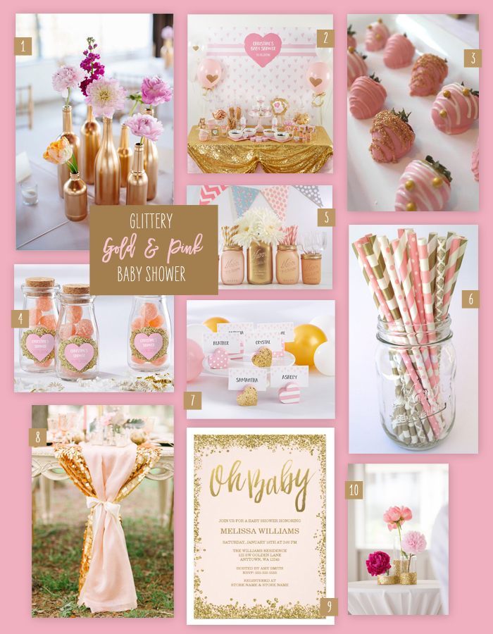 A Glittery Gold and Pink Baby Shower