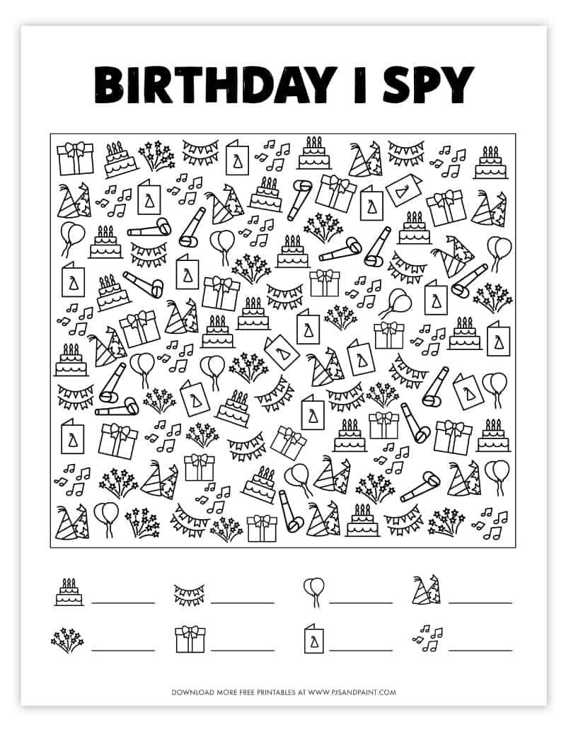 Free Printable Birthday I Spy Game For Kids Spy Games For Kids I Spy Games Spy Games [ 1035 x 800 Pixel ]