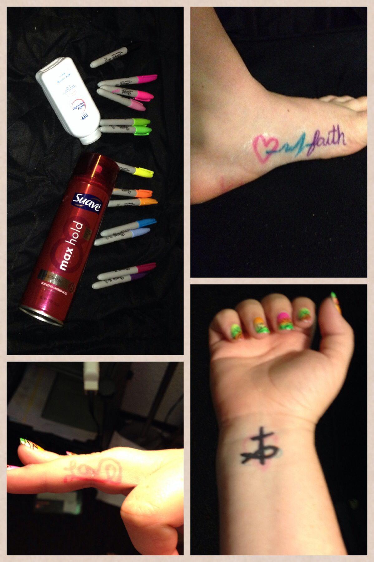 How To Make Sharpie Tattoos Last : sharpie, tattoos, Sharpies,, Powder, Hairspray, Temporary, Tattoos, Month!, Tattoo,, Tattoos,, Tattoo