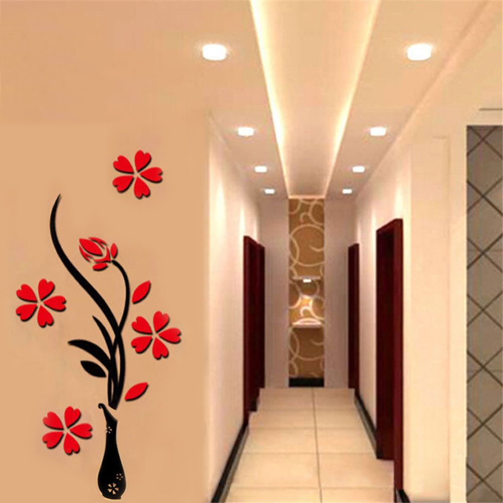 2.88 GBP - Removable 3D Flower Tree Diy Crystal Acrylic Decal Home ...