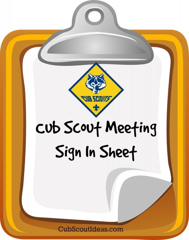 Attendance Sheet for Cub Scouts Tiger scouts - meeting sign in sheet