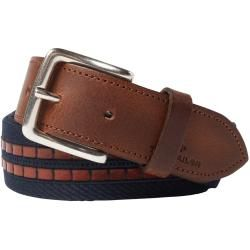 Photo of Tom Tailor men's belt with fabric and leather trim, navy-brown, plain-colored, size 80 Tom TailorTom Tailo