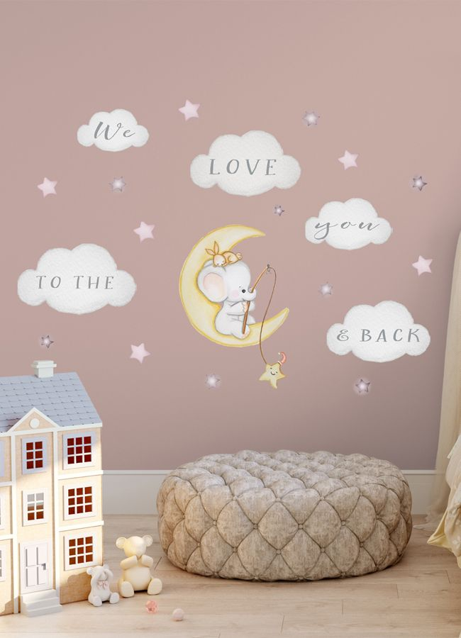 Elephant On Moon Decal Baby Room Wall Sticker