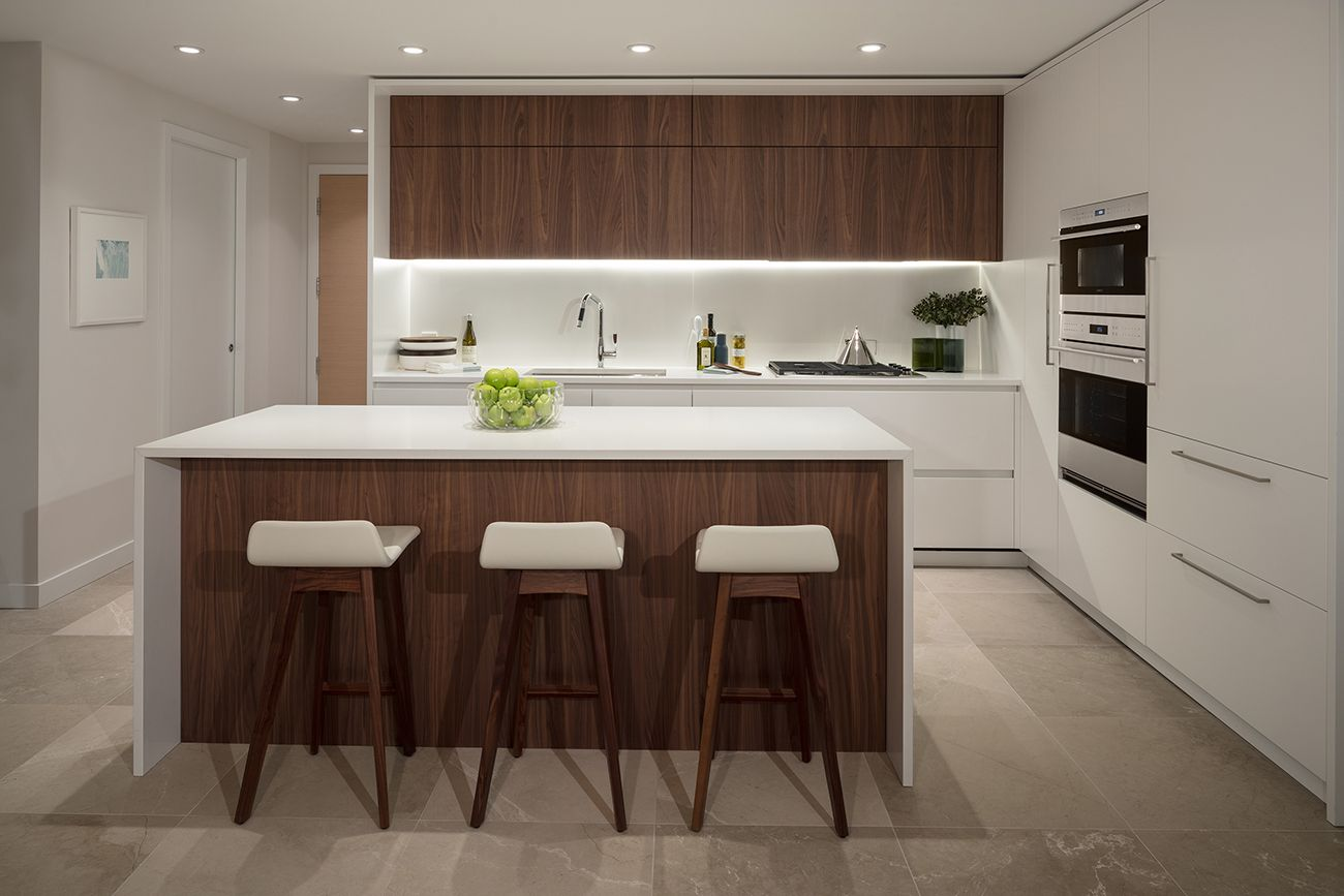Gourmet Kitchen Design Wolf And Sub Zero Appliances Walnut Custom Cabinetry Imported From Italy Vancouver Condo Gourmet Kitchen Design Home